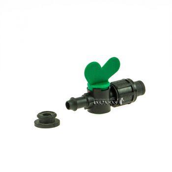 Кран с уплотнительной резинкой для капельной ленты зеленый