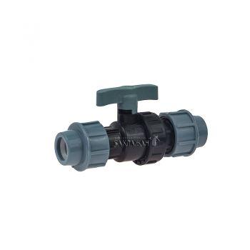 Кран пластиковый шаровый 20 мм для ПНД трубы