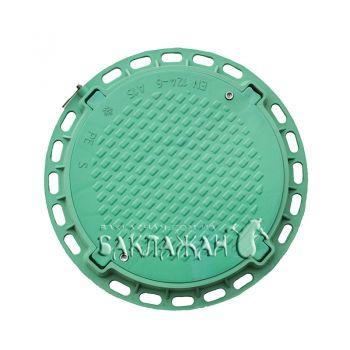Канализационный люк садовый круглый с замком. Цвет - зеленый