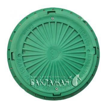 Канализационный люк круглый усиленный с замком. Цвет - зеленый